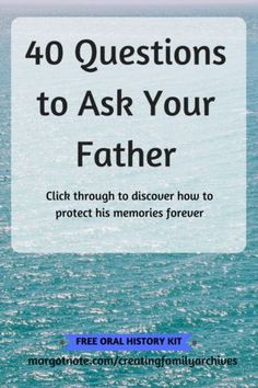 I've created a list of 40 questions to ask your father to celebrate his life. They are crafted to give you more than a yes or no answer and tailored to uncover information about the most important man in your life. Memoir Writing, Journal Writing Prompts, Life Questions, This Or That Questions, Interview Questions, Oral History, Recorded History, Family History Book, Hans Peter
