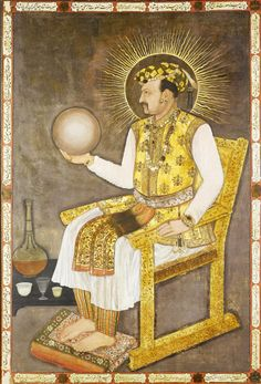 Mughal painting of Emperor Jahangir who ruled India from 1605 to EPA/Bonhams LONDON.- The magnificent portrait the Mughal Emperor. Rise Against, Mughal Paintings, Indian Paintings, Victoria And Albert Museum, Museum Of Fine Arts, Art Museum, Empire Moghol, Celestial Sphere, Mughal Empire