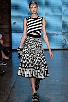 I like DK's Pattern Mixing on this outfit. - DKNY Spring 2015 Ready-to-Wear - Collection - Style.com