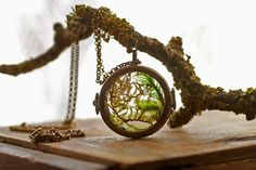 Real woodland moss necklace  floating locket  by RubyRobinBoutique