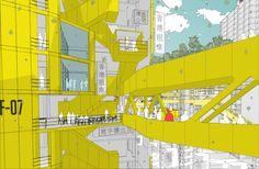 alexander balchin addresses urban density with communities in the sky Bartlett School Of Architecture, Open Architecture, Architecture Graphics, Architecture Student, Architecture Drawings, Contemporary Architecture, Landscape Architecture, House Drawing, Drawing Sky