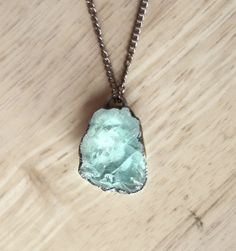 Raw Aquamarine Necklace Blue Aquamarine Pendant Rough Gemstone Necklace Raw Stone Pendant March Birthstone Electroformed Copper Necklace