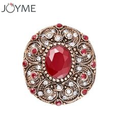 [Visit to Buy] Joyme India Antique Ring Men Big Oval Red Resin Charm Roman Royal Jewelry Rose Gold Wedding Rings Vintage Accessories Anel #Advertisement