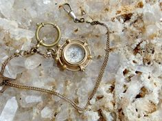 Handsome Gold Filled Watch Chain and Compass Fob with Engraved or Chased Scene, Working Compass, Large Spring Ring and Dog Lead Clip by postGingerbread on Etsy