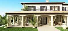Bungalow House Design, Home Design Plans, Outdoor Gardens, Pergola, Houses, Outdoor Structures, Mansions, House Styles, Spanish