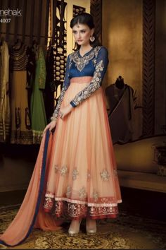 Buy Designer anarkali suits with heavy work patterns indian wear online Indian Anarkali Dresses, Designer Anarkali Dresses, Anarkali Suits, Ethnic Fashion, Indian Fashion, Orange And Blue Combination, Off White Designer, Lehenga Style, Indian Outfits