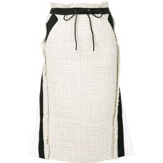 Sacai Tweed Pencil Skirt (3 010 PLN) ❤ liked on Polyvore featuring skirts, white, knee length skirts, high waist skirt, high-waisted skirt, pencil skirt and high waisted pencil skirt
