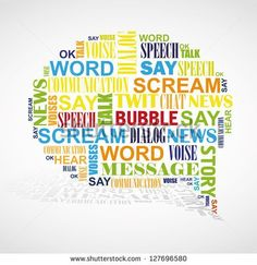 Speech Bubble Formed By Color Words Like Word Cloud