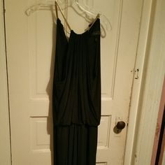 Black jumpsuit Gold elastic stretch necklace - flowing jumpsuit - only worn once Dress Barn Other