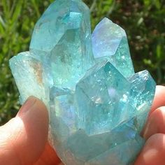 Blue Aura Quartz    Aqua aura is a natural crystal that has been coated with gold fumes. It is created in a vacuum chamber from quartz crystals and gold vapor by a process known as vapour deposition. The quartz is heated to 871 °C (1600 °F) i...See More