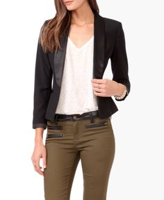 Contrast Trimmed Blazer | FOREVER21 - Super cute blazer!