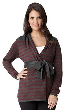 Ripe Maternity Manor Wrap Cardigan Sweater CoalPlum Medium >>> Check this awesome product by going to the link at the image. Fall Maternity Outfits, Maternity Pants, Maternity Sweaters, Maternity Boutique, Designer Maternity Clothes, Pregnancy Wardrobe, Wrap Cardigan, Striped Knit, Sweater Jacket