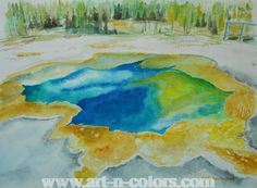 Hot springs in Yellowstone National Park Painting by Geeta Biswas at Art-n-Colors.