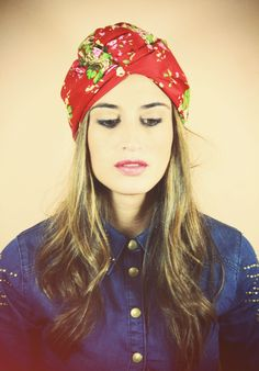 LOVE this look...red, floral chic turban