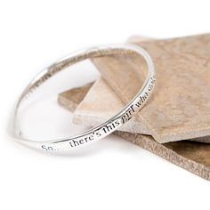 Silver Plated message bangle with the wording: 'So......there's this Girl who stole my heart....and changed my name to MUMMY....'