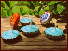 16 Craft Ideas How To Use Bottle Cap..this would be cute on a teenagers birthday cake :)