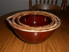 "Hull Brown Drip 6"", 7"", and 8"" Nesting Bowls - Free Shipping"