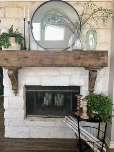 Update your fireplace decor with a simple side table with storage space . Update your fireplace decor with a simple side table with storage space for everyone . - Update your fireplace decor w. Stone Fireplace Decor, Fireplace Redo, Farmhouse Fireplace, Fireplace Remodel, Living Room With Fireplace, Fireplace Design, Home Living Room, Fireplace Decorations, Dining Rooms With Fireplaces