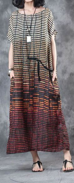 9c68d4021633 New red striped stylish linen dresses plus size casual sundress short sleeve  maxi dress