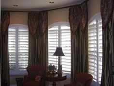houses with plantation shutters pictures | ... Plantation Wood Shutters with Drapery Side Panels in a Carlsbad Home