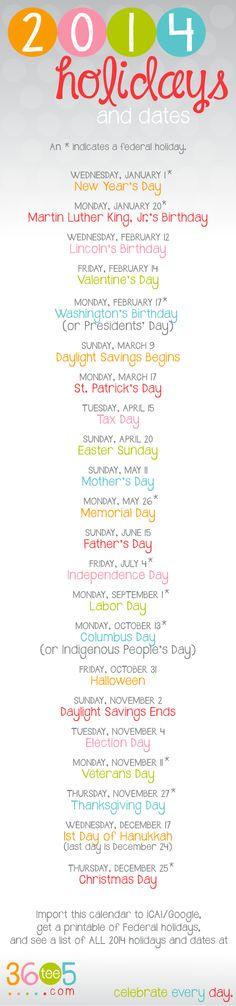 Free 2014 Printable Official Major Federal Holiday and Important Dates {also avaiable for Google and iCal}