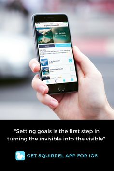 """""""Setting goals is the first step in turning the invisible into the visible"""" #bucketlist #goals #squirrelapp"""