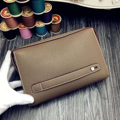 Free Shipping!2016 Hermes Outlet With Free Shipping-Hermes Classic Zippy Pouch For Men in Taupe Togo Leather