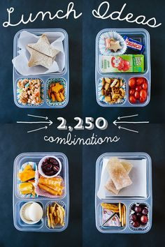 Whoa! 2,250 ways to pack a school lunch. You'll never run out of ideas with this list, includes a handy printable too! Print it out and tape it inside your cabinet #BacktoSchool #DIYPinPartyGiveaway