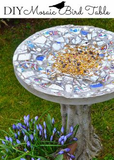 Instructions on how to make this DIY Mosaic Bird Table - an artistic weekend project that's 'For the Birds' but looks gorgeous too. Imagine it in your back yard! #birdfeeder