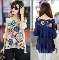Womens Fashion Blousers Summer Chiffon Tops T-Shirt Casual Loose Oversize Shirts