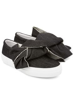 big sale 86c8e 75721 JOSHUA SANDERS Black Denim Bow Slip-On Sneakers.  joshuasanders  shoes   sneakers