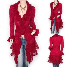 Trendy Red Ruffled Floral Applique Tiered Hem Cardigan Long Sweater Jacket