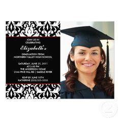 black and white damask graduation  | ... black white damask photo graduation invitation perfect graduation