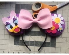 Browse unique items from ComicGeekOut on Etsy, a global marketplace of handmade, vintage and creative goods. Diy Disney Ears, Disney Mickey Ears, Mickey Mouse And Friends, Disney Diy, Disney Crafts, Disney 2017, Daisy Duck Party, Donald And Daisy Duck, Disney Headbands