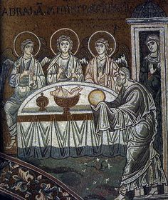 Abraham and Holy Trinity (angelic visitors at Mamre). Byzantine mosaic in Monreale.