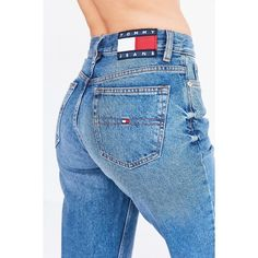 Tommy Jeans For UO 90s Mid-Rise Mom Jean (£115) ❤ liked on Polyvore featuring jeans, faded jeans, mid rise straight leg jeans, tommy hilfiger, 5 pocket jeans and tommy hilfiger jeans