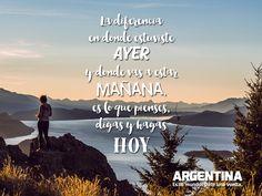"""""""La diferencia en donde estuviste AYER y donde vas a estar MAÑANA es lo que pienses, digas y hagas HOY""""    #Frases #viajar #viajes #Argentina #turismo #turista #maleta #ArgentinaEsTuMundo #travel  Más info en: www.facebook.com/viajaportupais Travel Quotes, Decir No, Movies, Movie Posters, Facebook, Frases, Thinking About You, Argentina Tourism, Cute Stuff"""