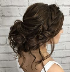 Braids + messy updo #weddinghair #messyupdo #hairdo #bridehair
