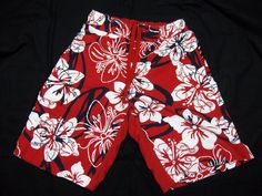 Arizona Boys Small Red Floral Print Swim Shorts Swimwear Size S/CH #Arizona #SwimShorts