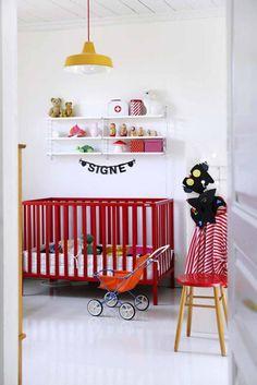 Bold nursery with red crib and yellow light. Baby Room Decor, Nursery Room, Kids Bedroom, Nursery Decor, Kids Rooms, Budget Nursery, Red Nursery, Room Kids, Girl Nursery