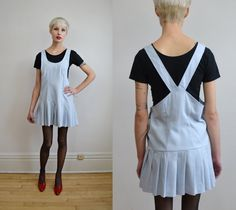 90s powder blue schoolgirl pinafore mini dress by BrownCowVintage, $36.00