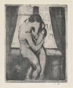 Edvard Munch, The Kiss, 1895, etching, open bite, drypoint and aquatint in greenish gray on cream card, The Epstein Family Collection