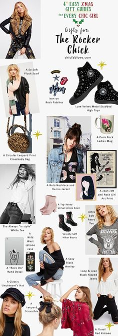 4 Easy Xmas Gift Guides for Every Chic Girl :: The Yoga Fanatic | The Rocker Chick | The Celestial Beauty | The French Girl :: Chic+Fab+Love | Christmas Gift Ideas | Easy | Leather Jacket | Fashion | for her | Rocker | Graphic Tee | Hiker Boots | Velvet Boots | Leopard | Punk Rock | Velvet High-Tops | Rock Patches | Scarf | Free People | iPhone Case | Kimono | Black Jeans | Henley | Rock and Roll | Music | Rocker Chick