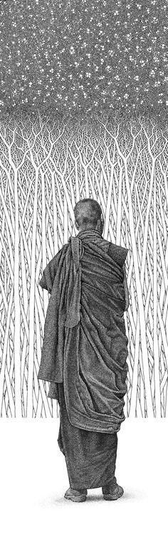 Silenzio - disegni a penna da maestro moderno Ghadge sul disegno Servito