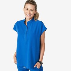 Shop FIGS for comfortable designer scrubs and medical apparel that's awesome. Get ready to love your scrubs! Royal Blue Scrubs, Scrubs Outfit, Scrubs Uniform, Lip Scrub Homemade, Scrub Pants, Scrub Tops, Mandarin Collar, Blue Tops, Pants For Women