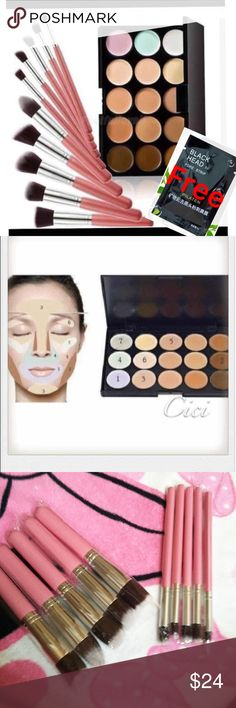 Concealer+10pcs Makeup Set Concealer+10pcs Makeup Set 10pcs Makeup Brushes Set Cosmetic Eyeshadow Face Powder Foundation Lip Brush  Features: 100% Brand new and high quality!! Applies cream or liquid foundation for an even finish and a flawless look Very Soft and high quality 10 pieces makeup brush set Cosmetic brush bag is made from hemp material, easy and convenient to carry, Compact travel size. Great for makeup. 15 Color Face Cream Contour Kit Concealer Palette Highlighter Makeup Set…