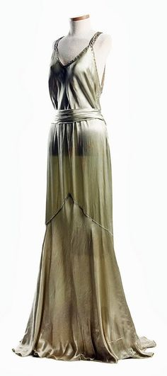 Light Green Satin dress - c. 1932 - Worn by Eleanor Middleton Rutledge Hanson (1894-1966) for her second court visit at Buckingham Palace in 1932 - The Charleston Museum
