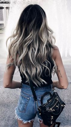 17 Stunning Examples of Balayage Dark Hair Color - Style My Hairs Dark Ombre Hair, Gray Ombre, Ombre Color, Black And Blonde Ombre, Black And Silver Hair, Silver Ombre Hair, Dyed Hair Ombre, Colour, Blonde Hair With Roots