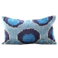 """A beautiful velvet ikat pillow that we found in Turkey. Handmade and with beautiful hues. 9"""" x 16"""" Down insert included."""