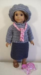 "Harriet - 18"" doll ~ **Free Crochet Patterns for this cute outfit and there is also a pretty little dress pattern**"
